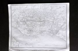 Thomas Moule C1838 Antique Map. Environs of Portsmouth, Hampshire